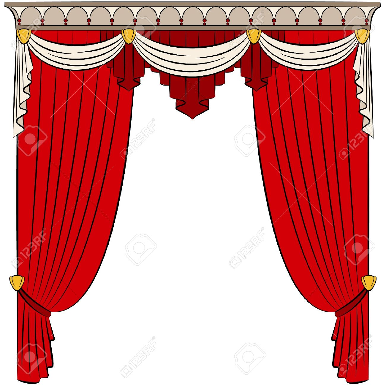 The vintage interior with curtain. Stock Vector - 10719357