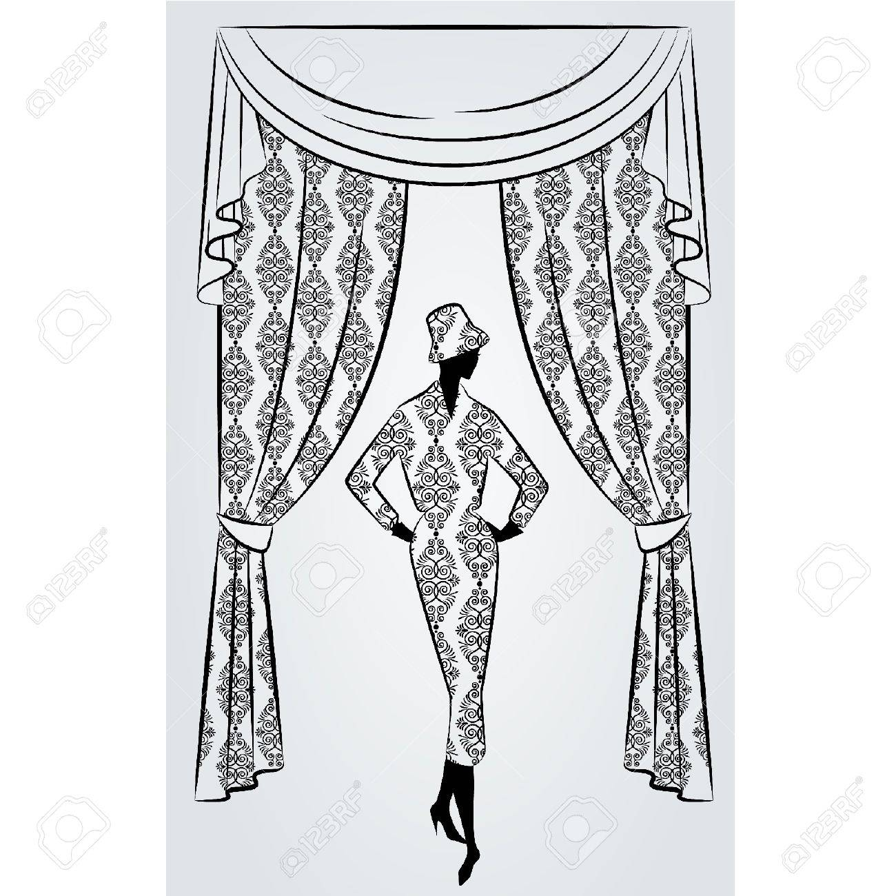 Black Lace Curtains Vintage - Lace curtains vintage curtain with silhouette of girls