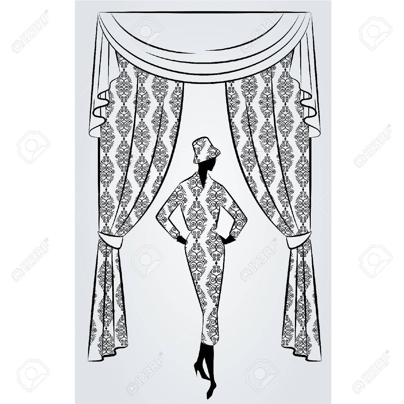 Y cortinas en casa decoración interior de la silueta (Interior de la casa decoración, interior cortinas en casa)
