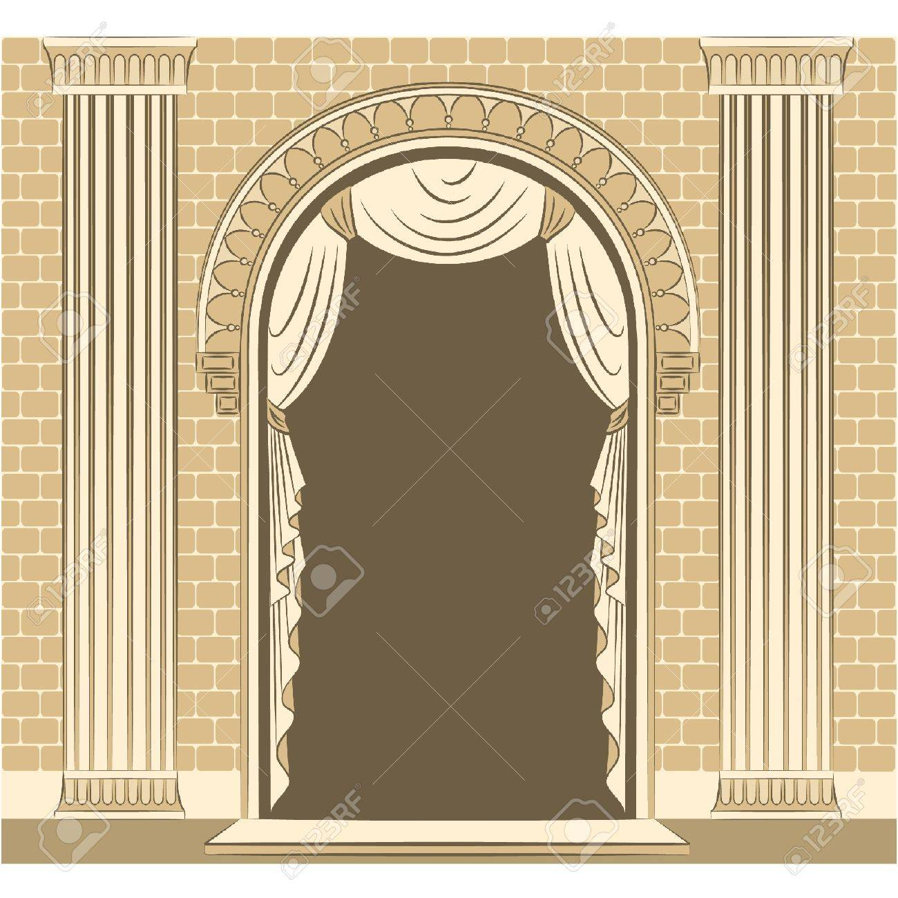 The vintage interior with curtain. Stock Vector - 11106888
