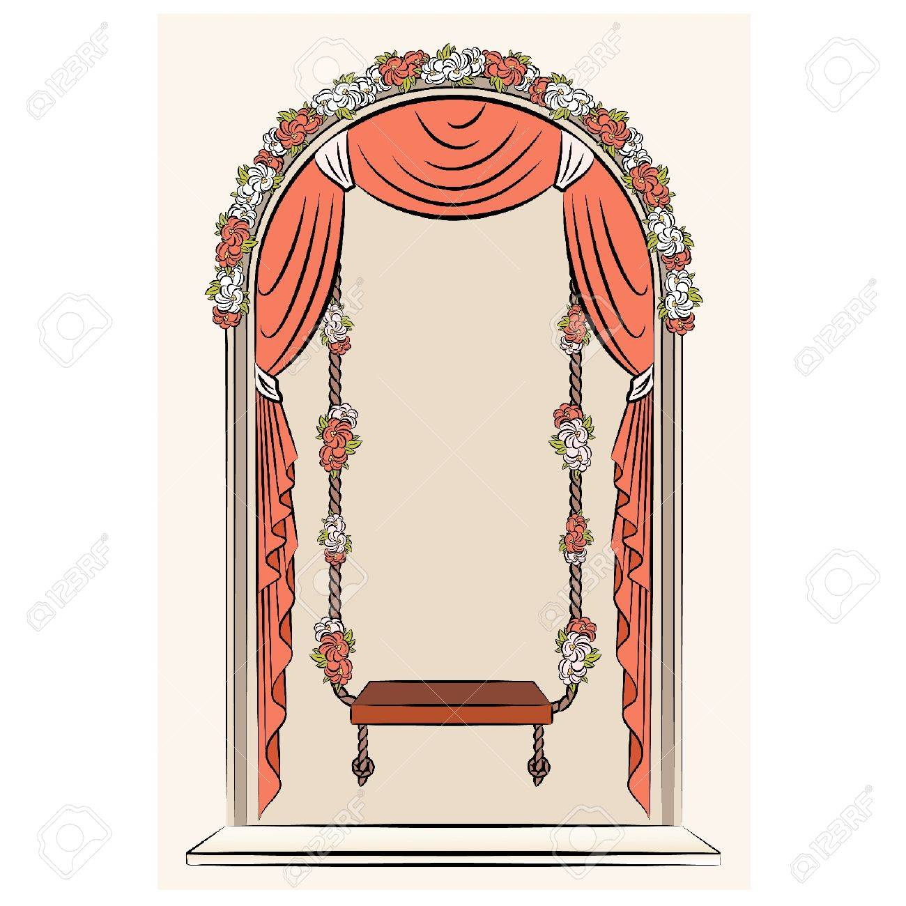 The vintage swings with curtain and flowers Stock Vector - 11106921
