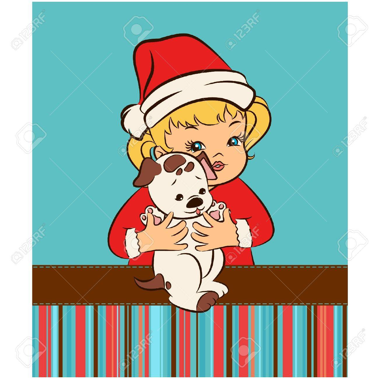 Cartoon little girl in suit Snow Maiden  with puppy. Stock Vector - 11656404