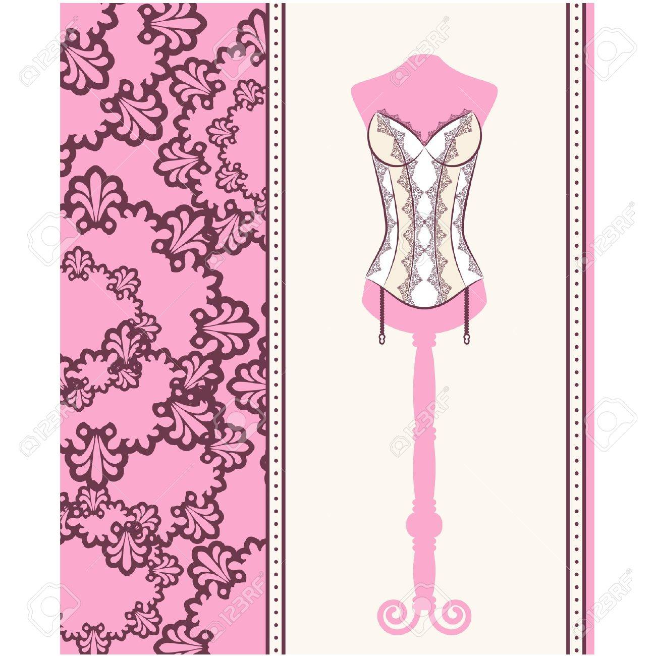 Vintage corset with beautiful ornament on the background. Vector Stock Vector - 12081076