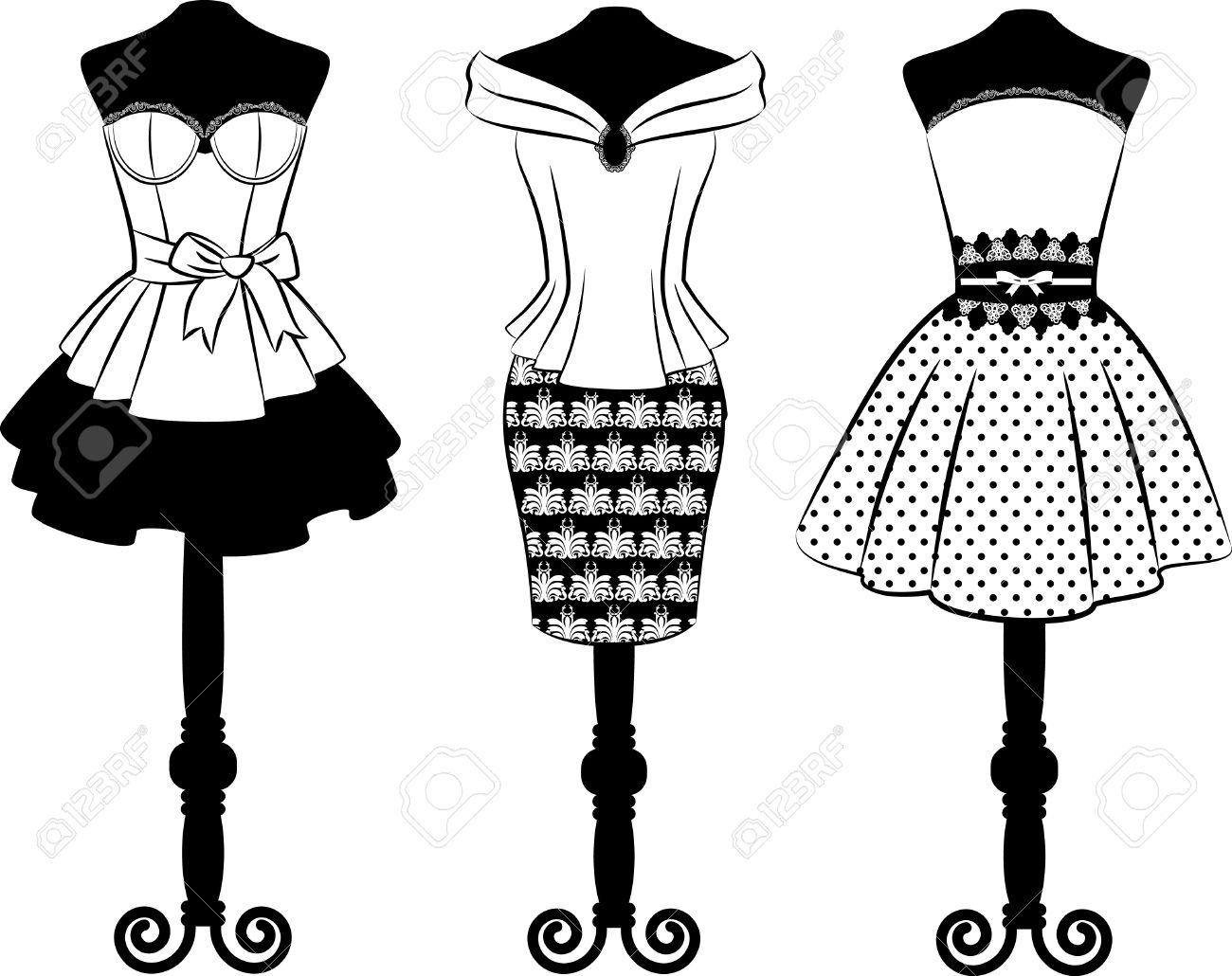Black dress cartoon - Stock Photo Vintage Dress With Lace Ornaments Set