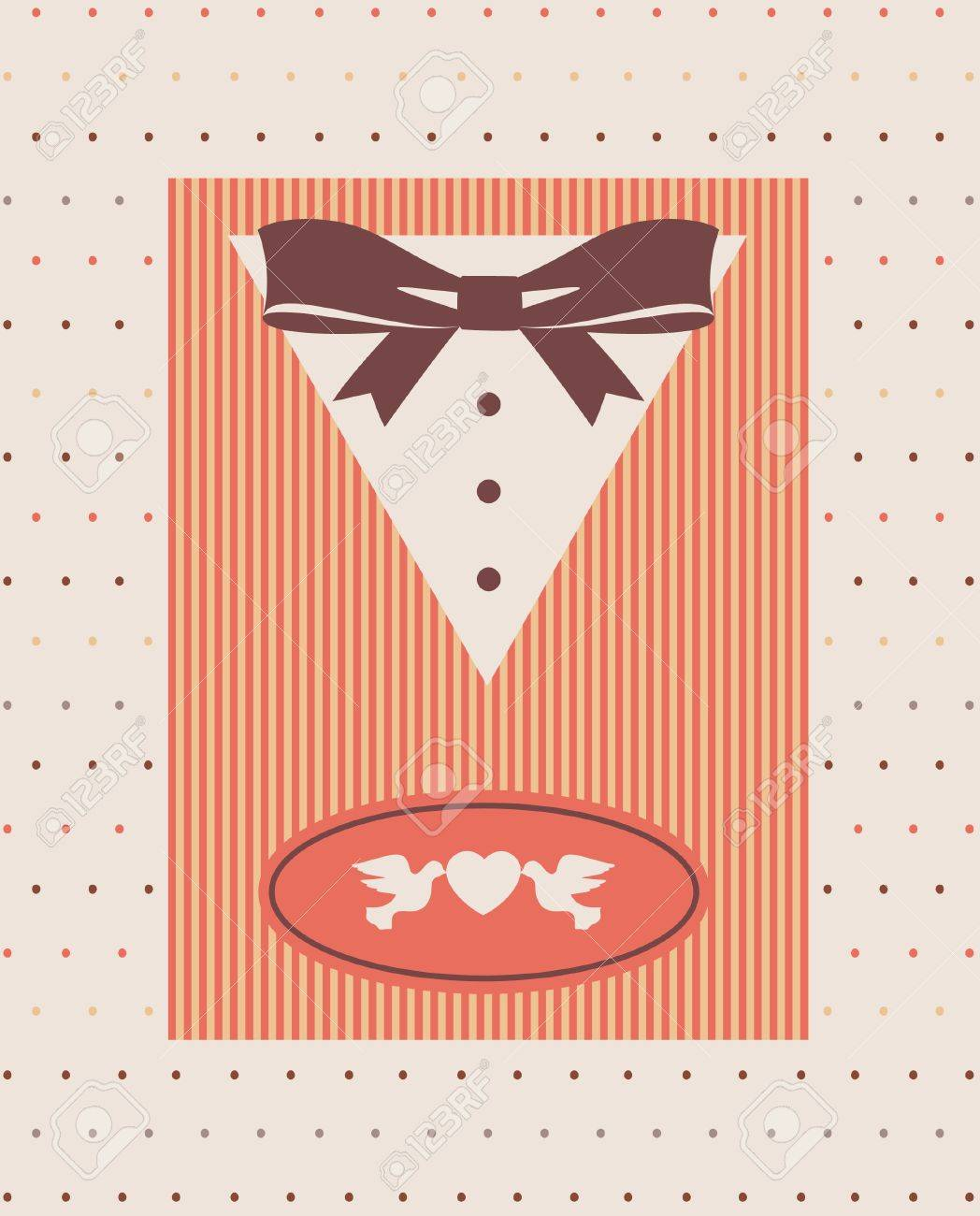 Vintage background with tuxedo shirt and bowtie close up Stock Photo - 14578478