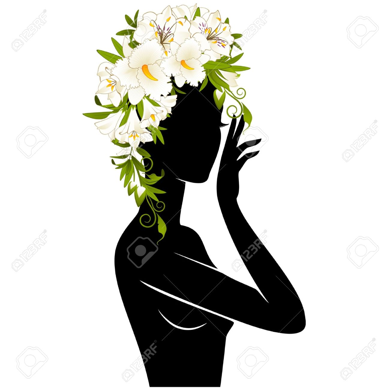 Beautiful silhouette of girl in hat from flowers on white background Stock Vector - 14907692