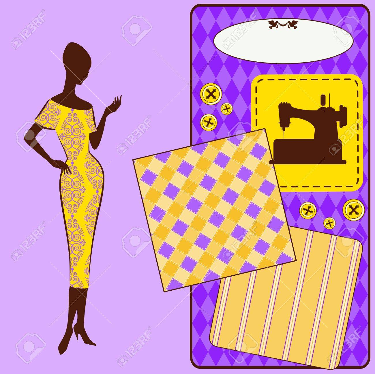Vintage sewing elements with woman s silhouette on the background Stock Photo - 16966729
