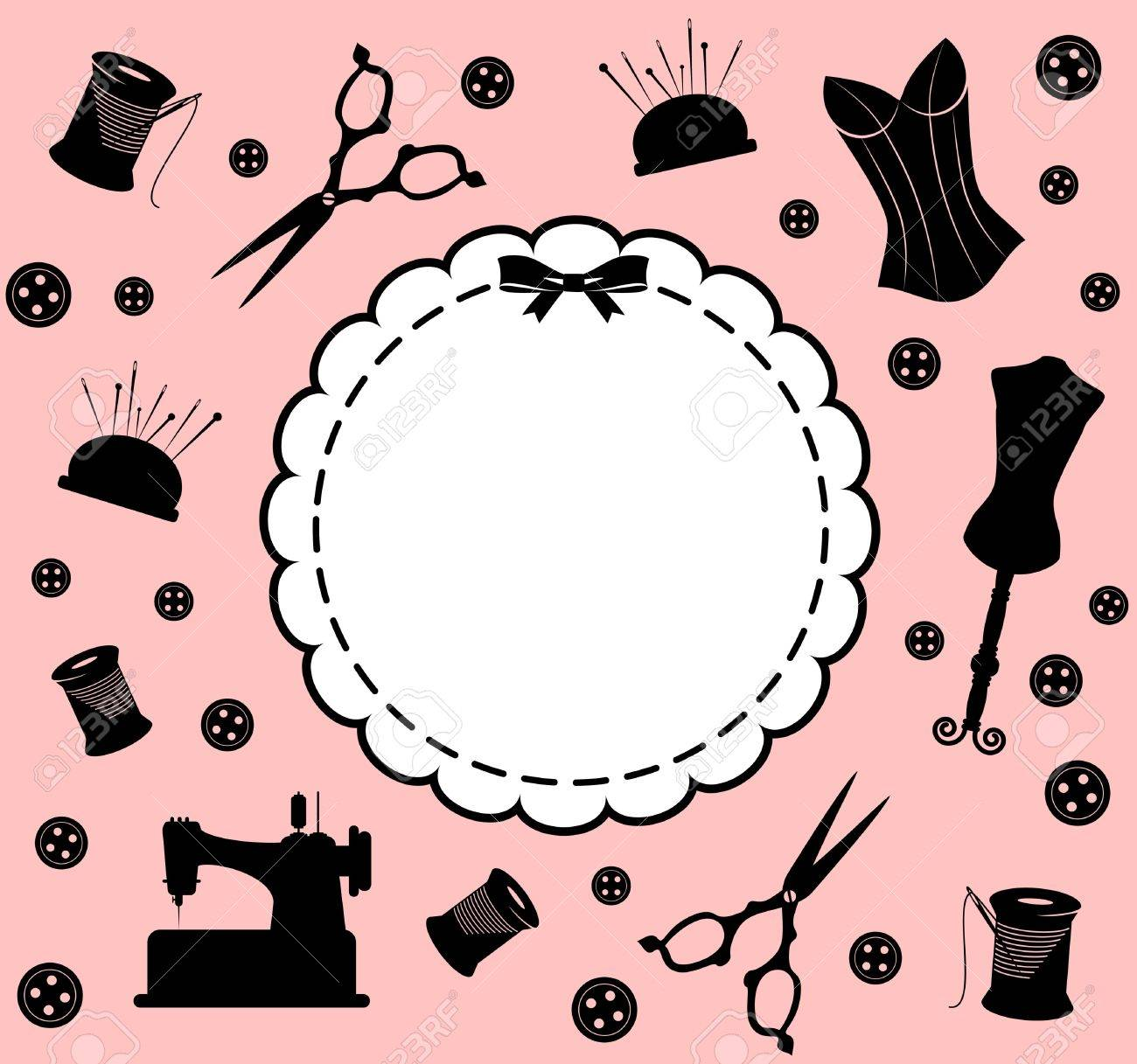 Vintage sewing related elements on the background Stock Photo - 16966715