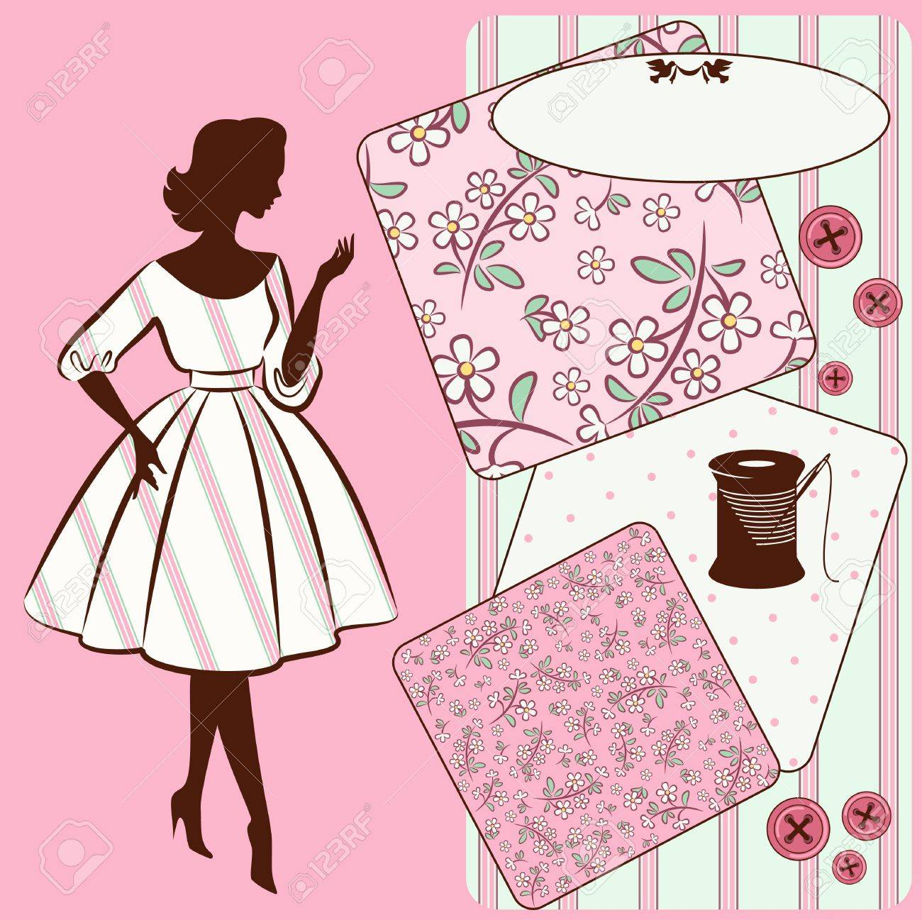 Vintage sewing elements with woman s silhouette on the background Stock Photo - 16966721