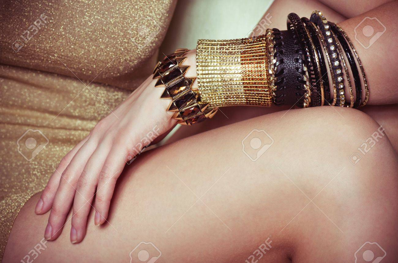 Beautiful bijouterie bangles on hand  Fashion photo Stock Photo - 17789678