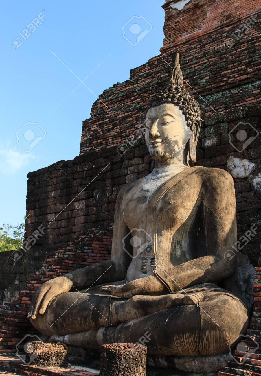 An ancient Buddha image at Sukhothai historical park, Thailand Stock Photo - 16492499