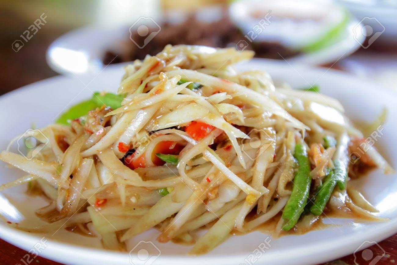 Thai papaya salad,on white plate,Thai food Stock Photo - 16926478