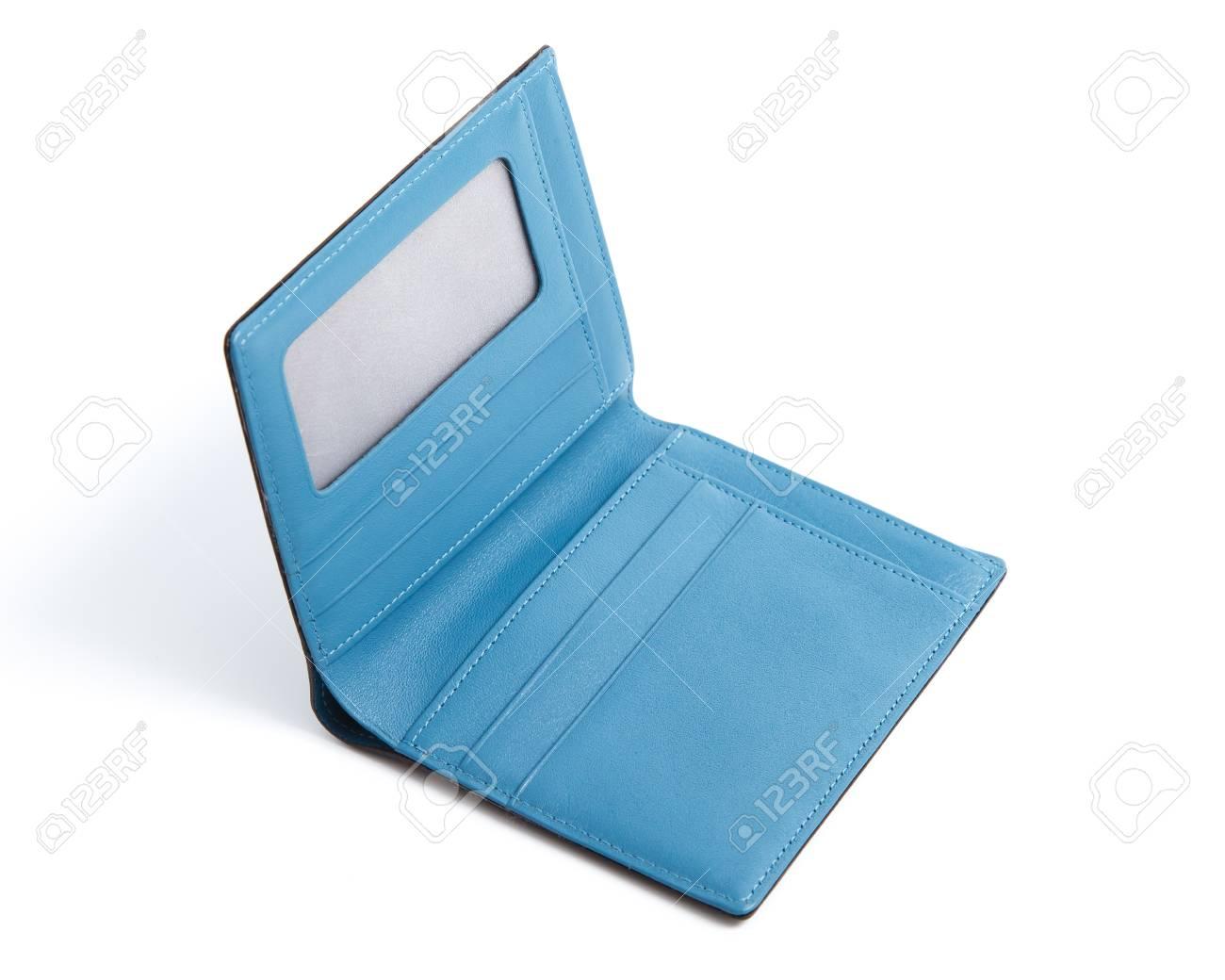 Blauwe Portemonnee.Blauwe Portemonnee Geisoleerd Op Witte Achtergrond Royalty Vrije