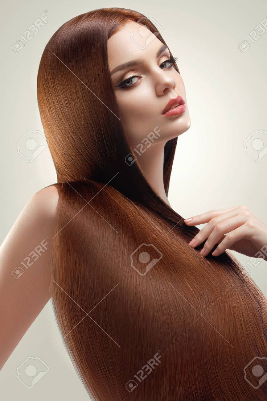 Portrait of Beautiful Woman with Long Hair - 45680218