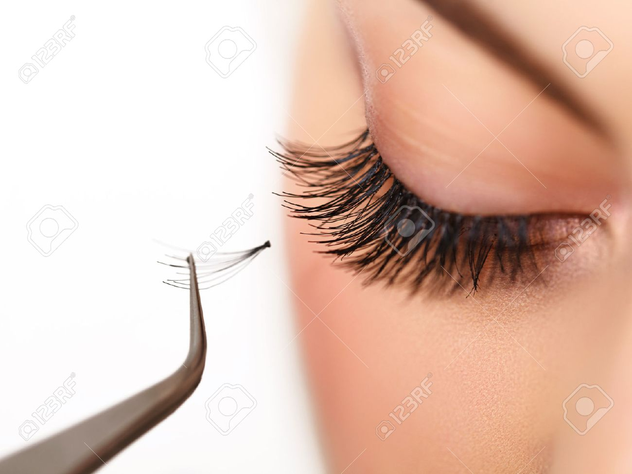 Woman Eye With Long Eyelashes On Eyelash Extension Stock Photo ...