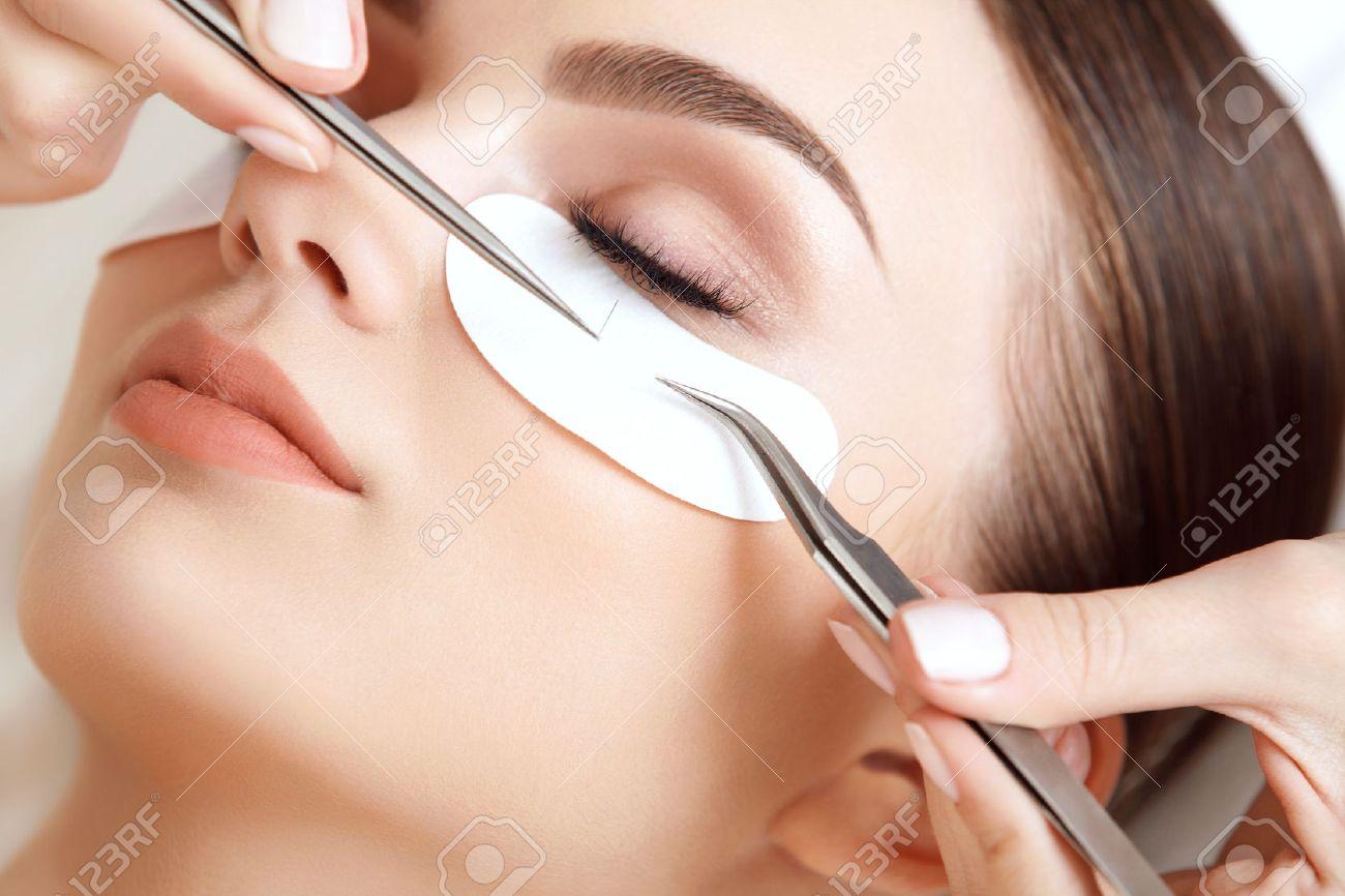 Woman Eye With Long Eyelashes. Eyelash Extension Stock Photo ...