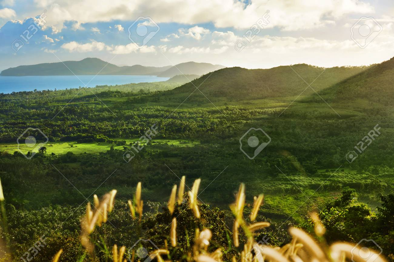 Scenic View Landscape Of Koh Samui Island Hills With Beautiful Sky And Green - Nature Background. Scenic View Landscape Of Koh Samui Island.. Stock