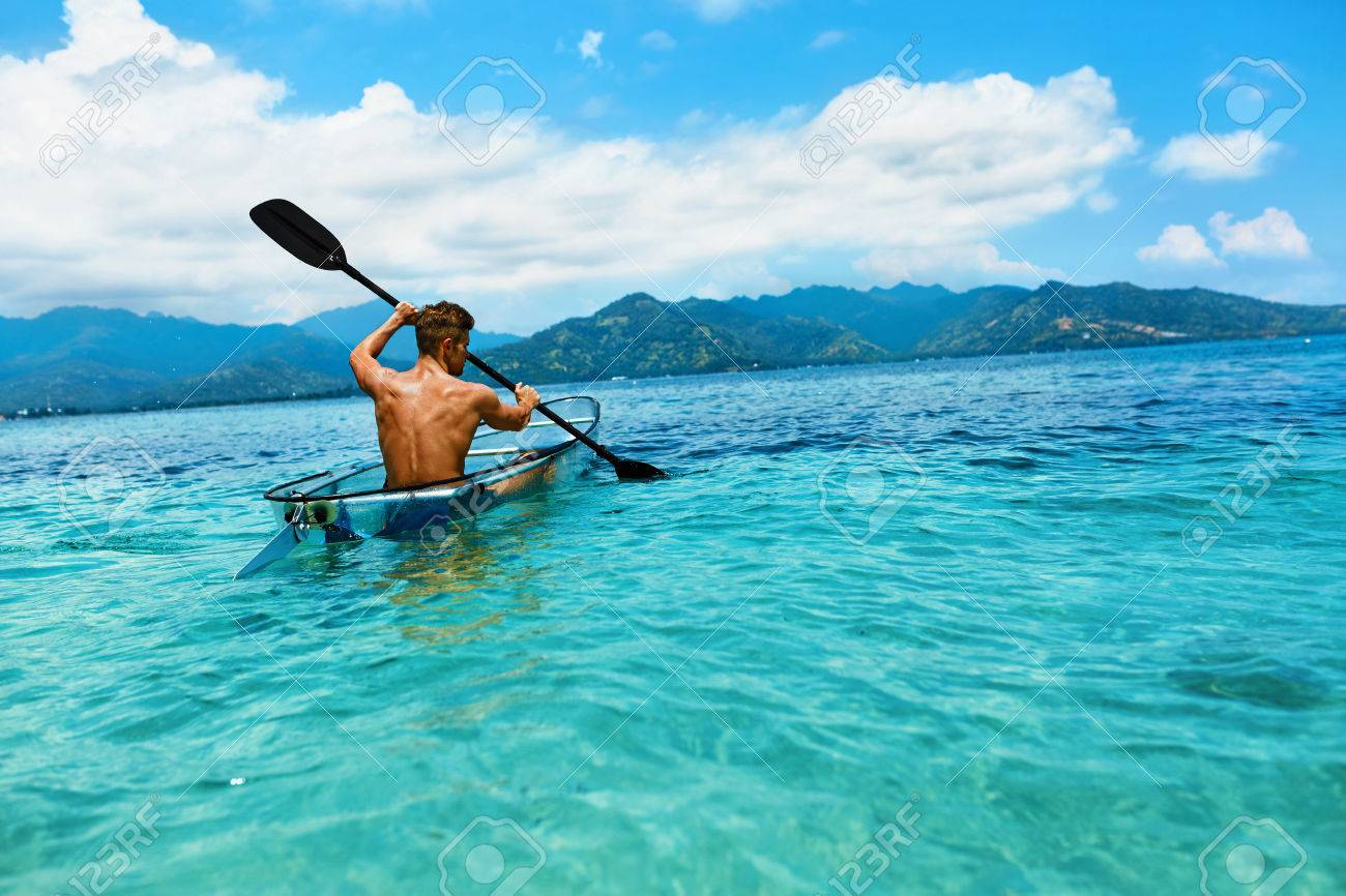 Transparent Canoe Kayak Summer Travel Kayaking Man Paddling Transparent Canoe Kayak