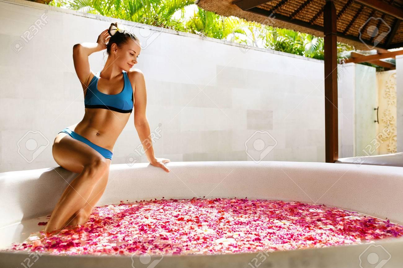 21f197a7b9adc Day Spa Body Care. Beautiful Sexy Happy Woman With Healthy Skin In Bikini  Relaxing Near