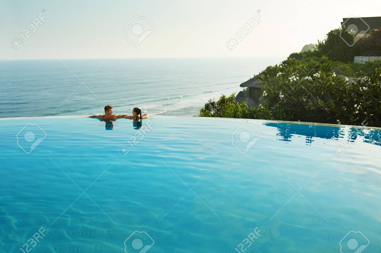 Romantic Vacation For Couple In Love. Happy People Relaxing In..