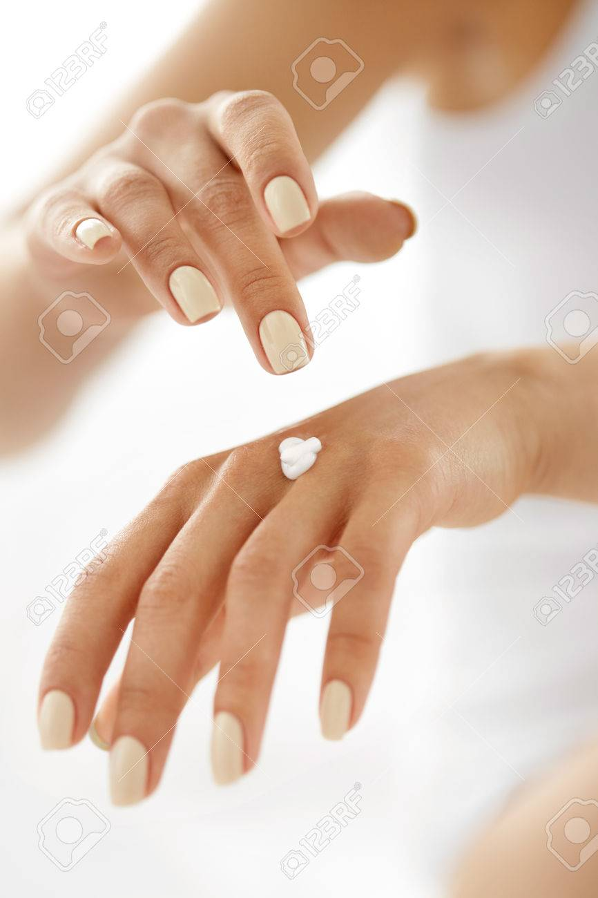 Hand Cream. Closeup Of Beautiful Woman\'s Hands With Natural Manicure ...