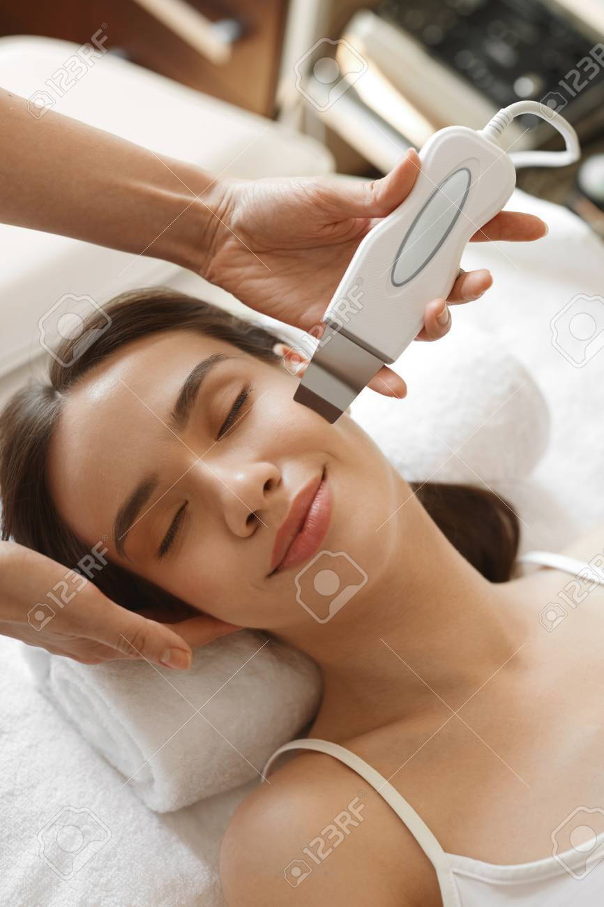 Face Skin Care Beautiful Woman Receiving Ultrasound Cavitation Stock Photo Picture And Royalty Free Image Image 61052325