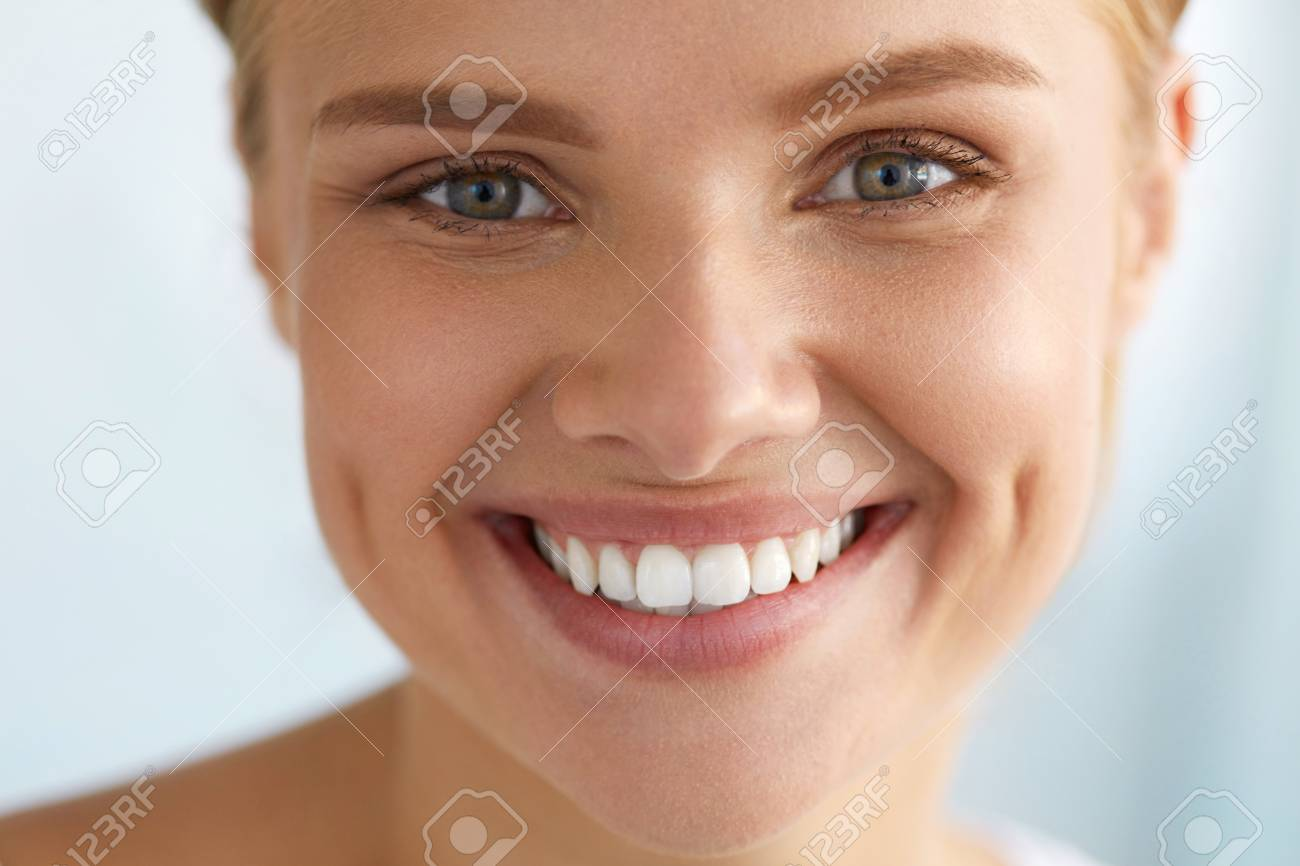 67bbf9e9a4 Closeup Portrait Of Beautiful Happy Girl With Perfect Smile And White Teeth