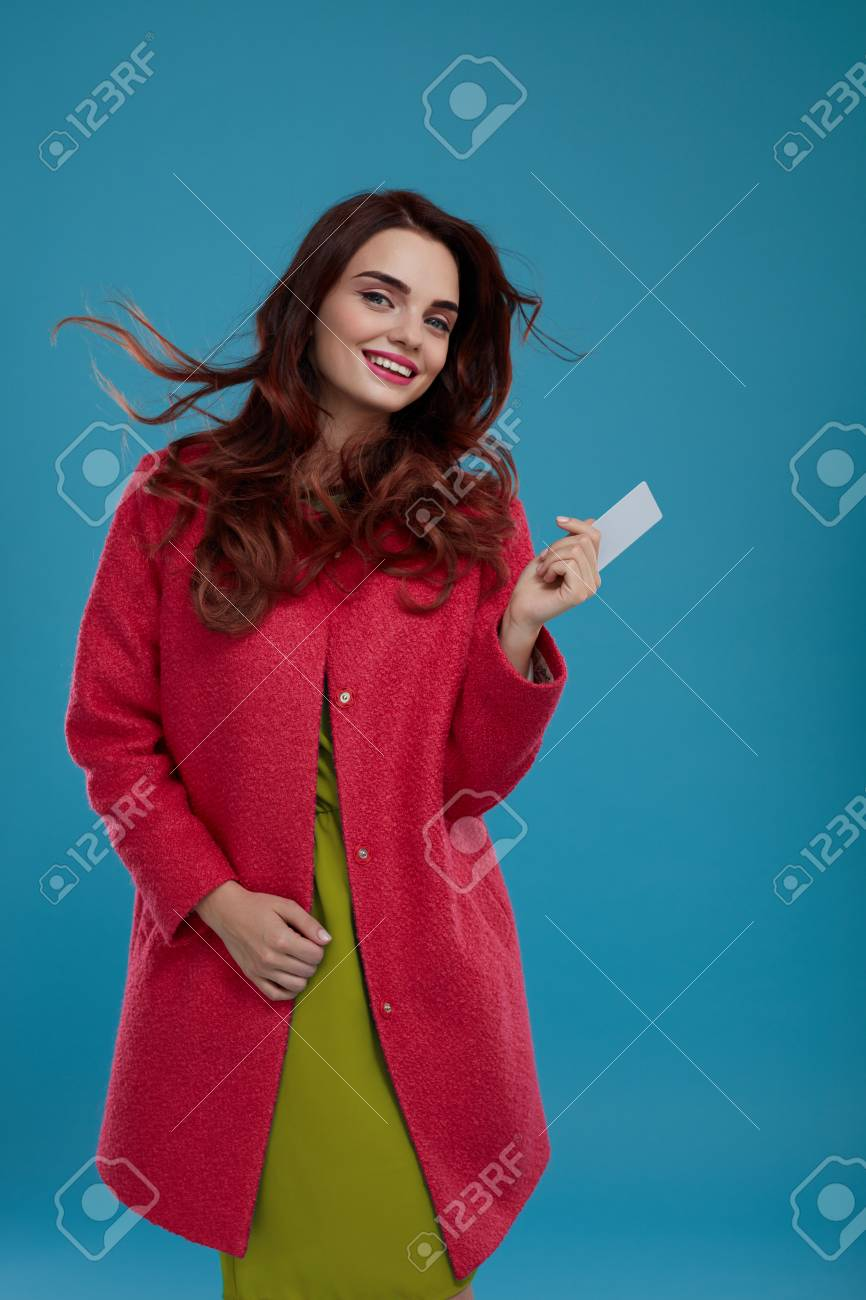 d1fc74ac8 Fashion Model Girl In Stylish Clothes On Blue Background. Portrait ...