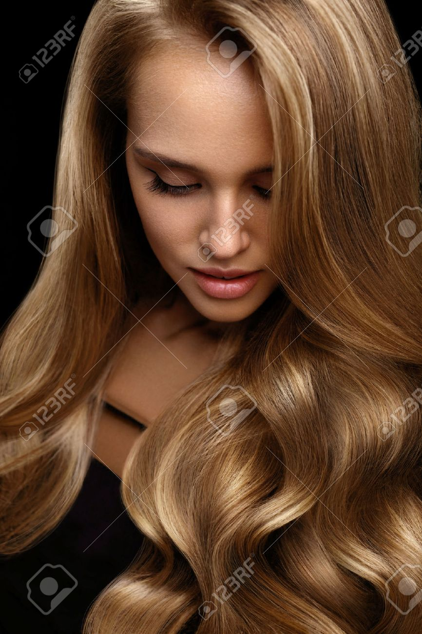 Volume Hair Beautiful Woman With Beauty Face Perfect Makeup