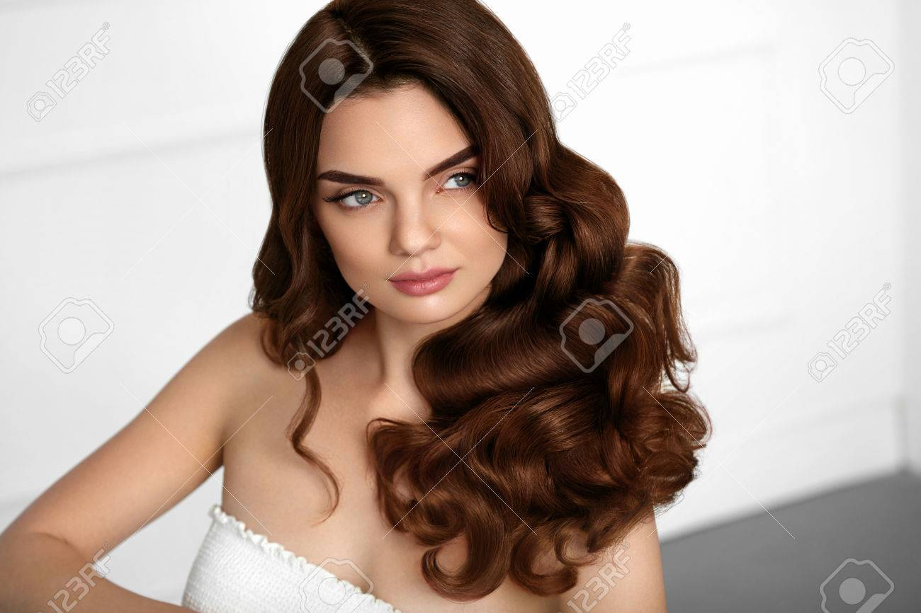 Brown Hair Color Beautiful Brunette Girl With Wavy Curly Hairstyle