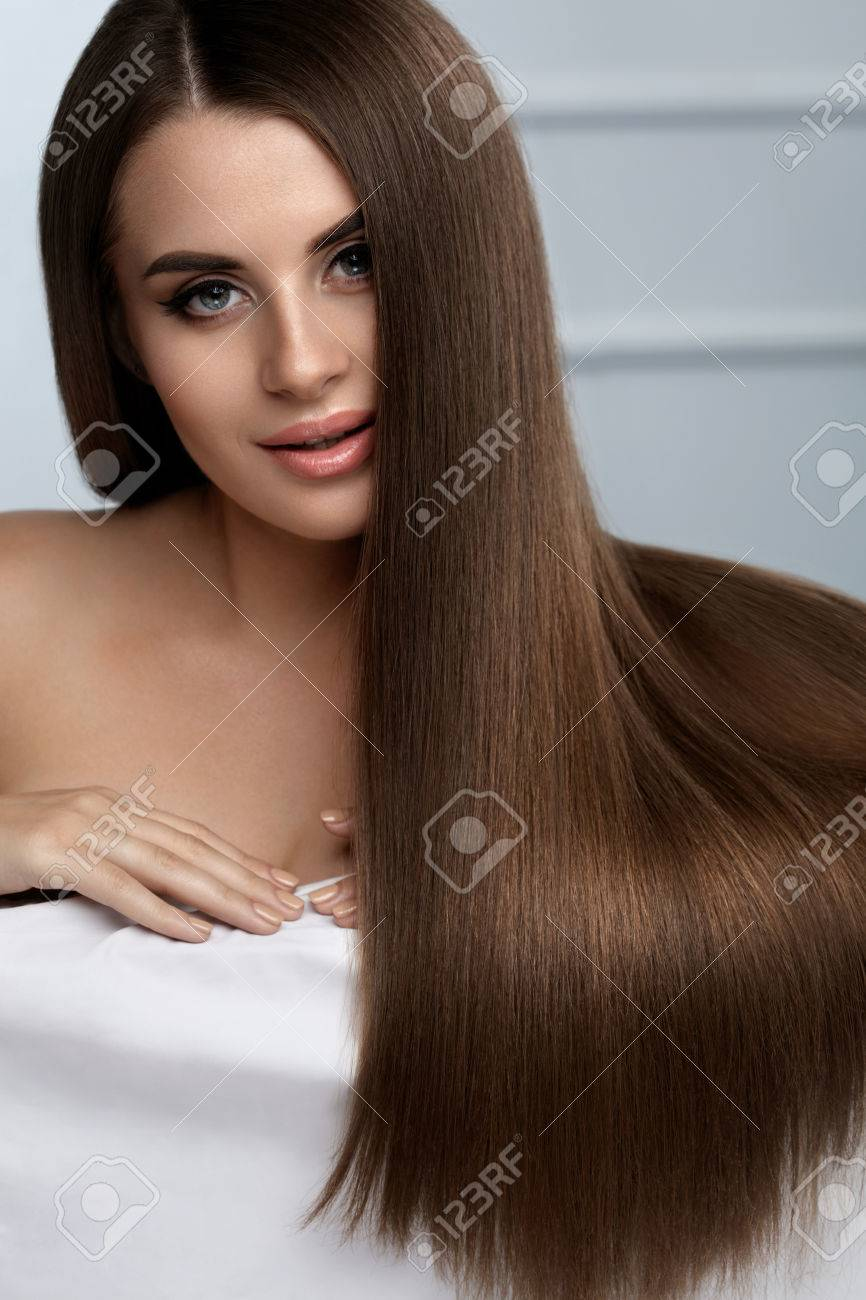 Brown Hair Color Beautiful Woman Model With Healthy Smooth Long