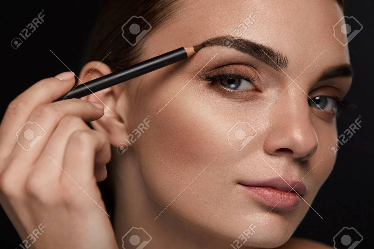 Eyebrows Shaping Portrait Of Sexy Young Girl With Brow Pencil