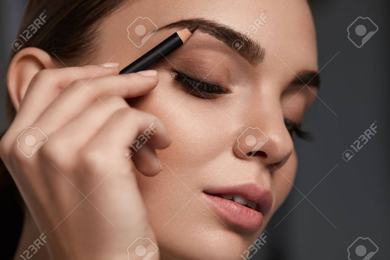 Eyebrows Makeup Beautiful Woman With Closed Eyes Perfect Make Up