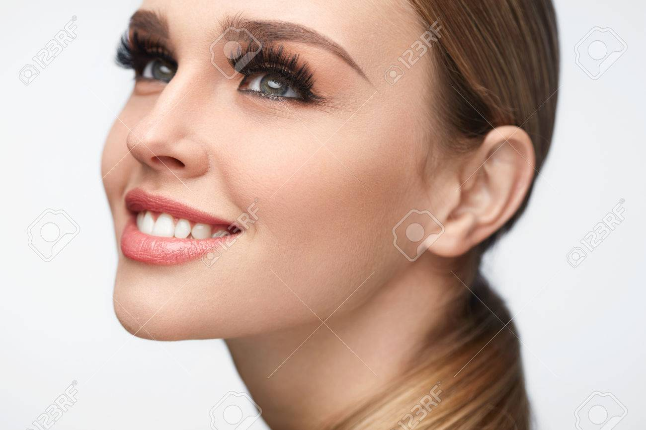 cd651871b4c Fake Eyelashes. Portrait Of Beautiful Sexy Woman With Professional Makeup  And Smooth Soft Skin.