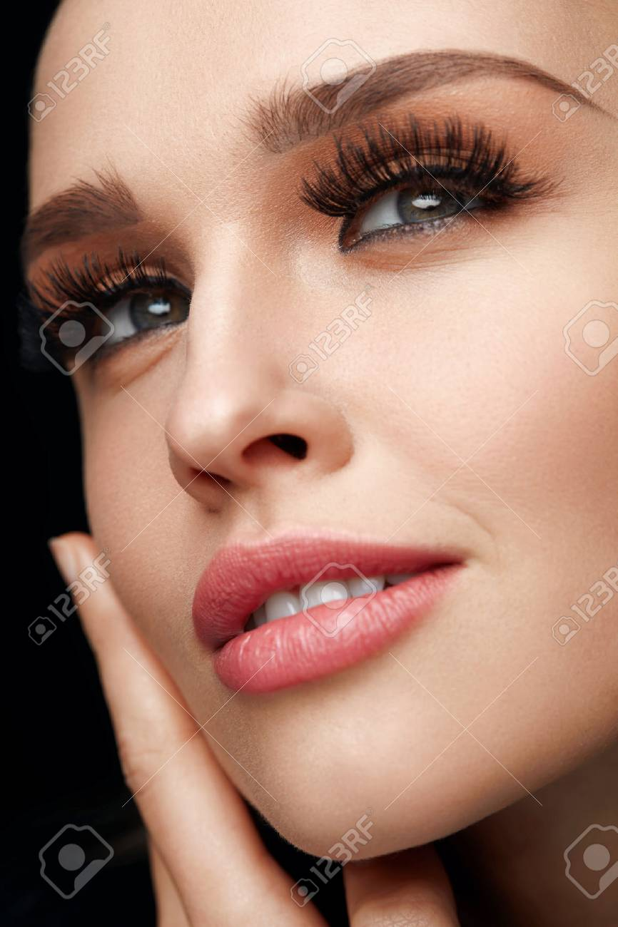 c2134d1615f Closeup Portrait Of Beautiful Sexy Young Woman With Long Black Thick Fake  Eyelashes