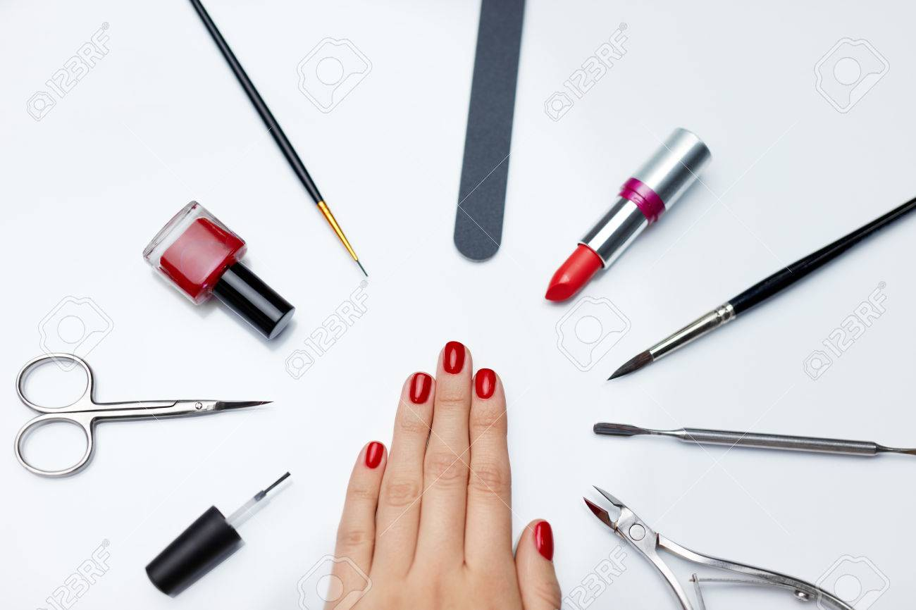 Professional Manicure. Closeup Of Beautiful Woman\'s Nails With ...
