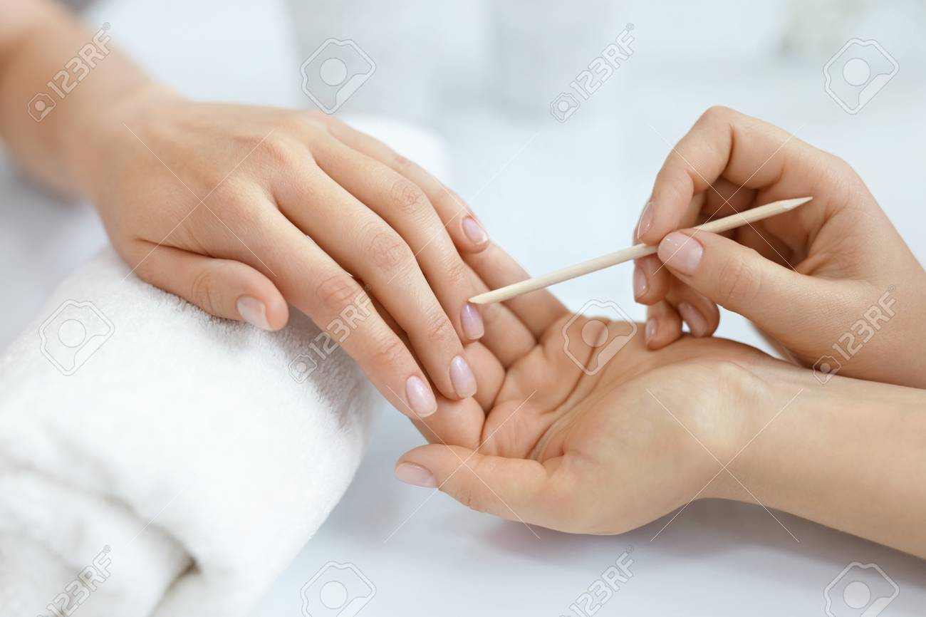 Nail Salon. Closeup Of Beautician Hands Cleaning Female Client\'s ...