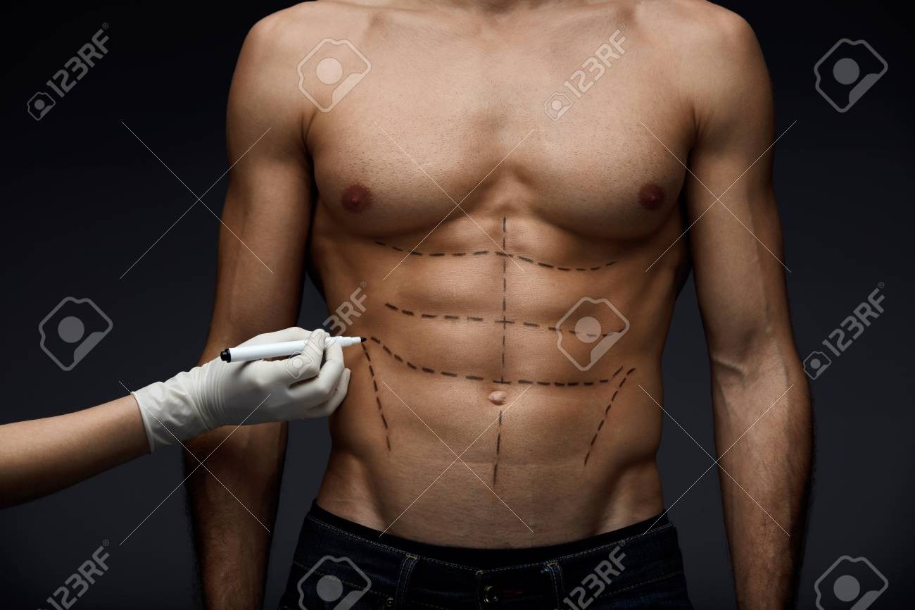 Human Body Closeup Of Mans Fit Body With Abs Muscular Torso
