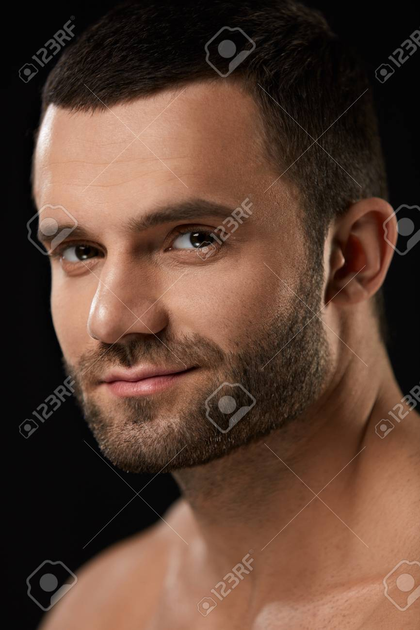 Male Beauty Face Closeup Of Handsome Sexy Young Man With Stubble Stock Photo Picture And Royalty Free Image Image 75751946