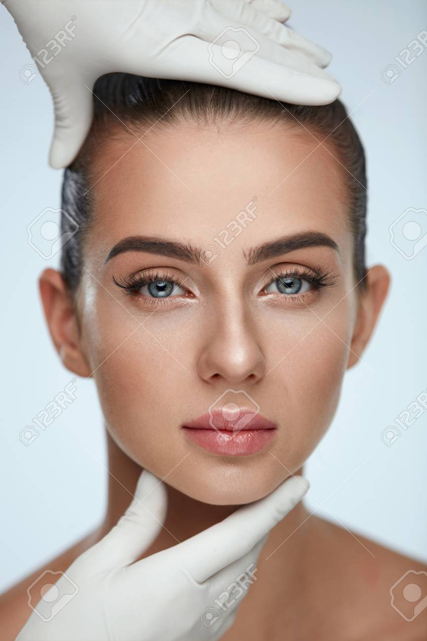 1e7792622 Facial Beauty. Portrait Of Beautiful Young Female With Perfect ...