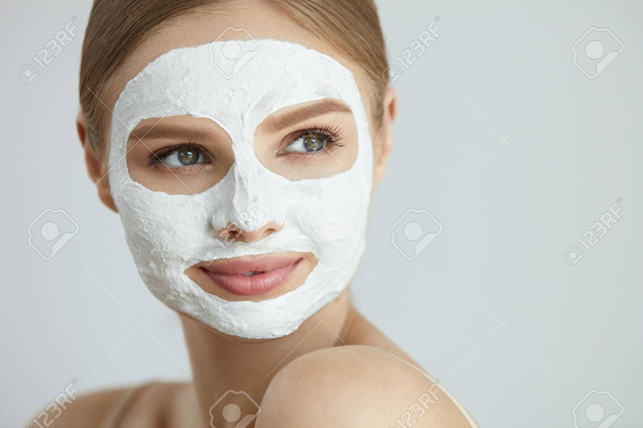 Skin Care Mask Closeup Portrait Of Attractive Smiling Young Stock Photo Picture And Royalty Free Image Image 84130207