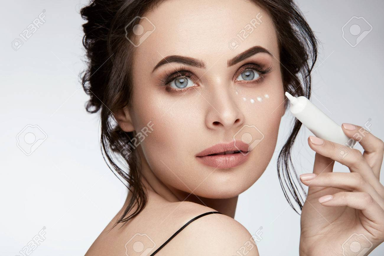 Eye Skin Care Portrait Of Beautiful Sexy Woman With Fresh Natural