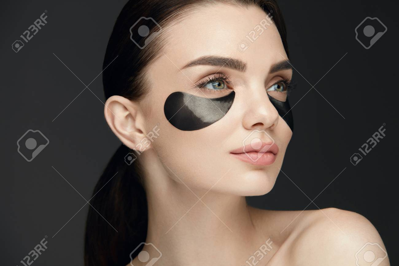 Woman Beauty Face With Mask Under Eyes Beautiful Girl With Natural
