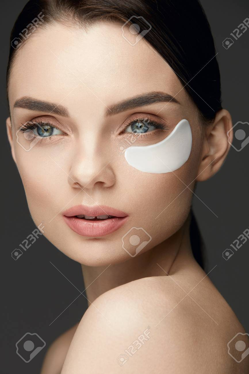 Patch Under Eye Beautiful Woman Face With Natural Makeup Fresh