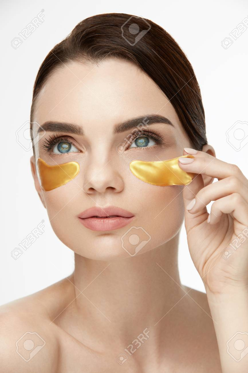 Woman Beauty Face With Mask Under Eyes Beautiful Female With