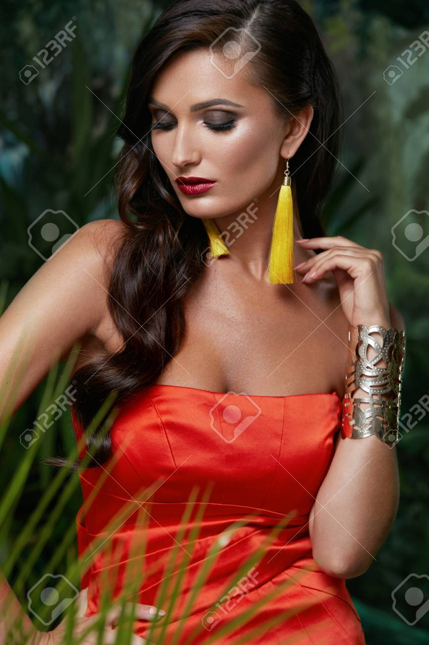 Summer Fashion Beautiful Woman With Hairstyle In Dress Portrait