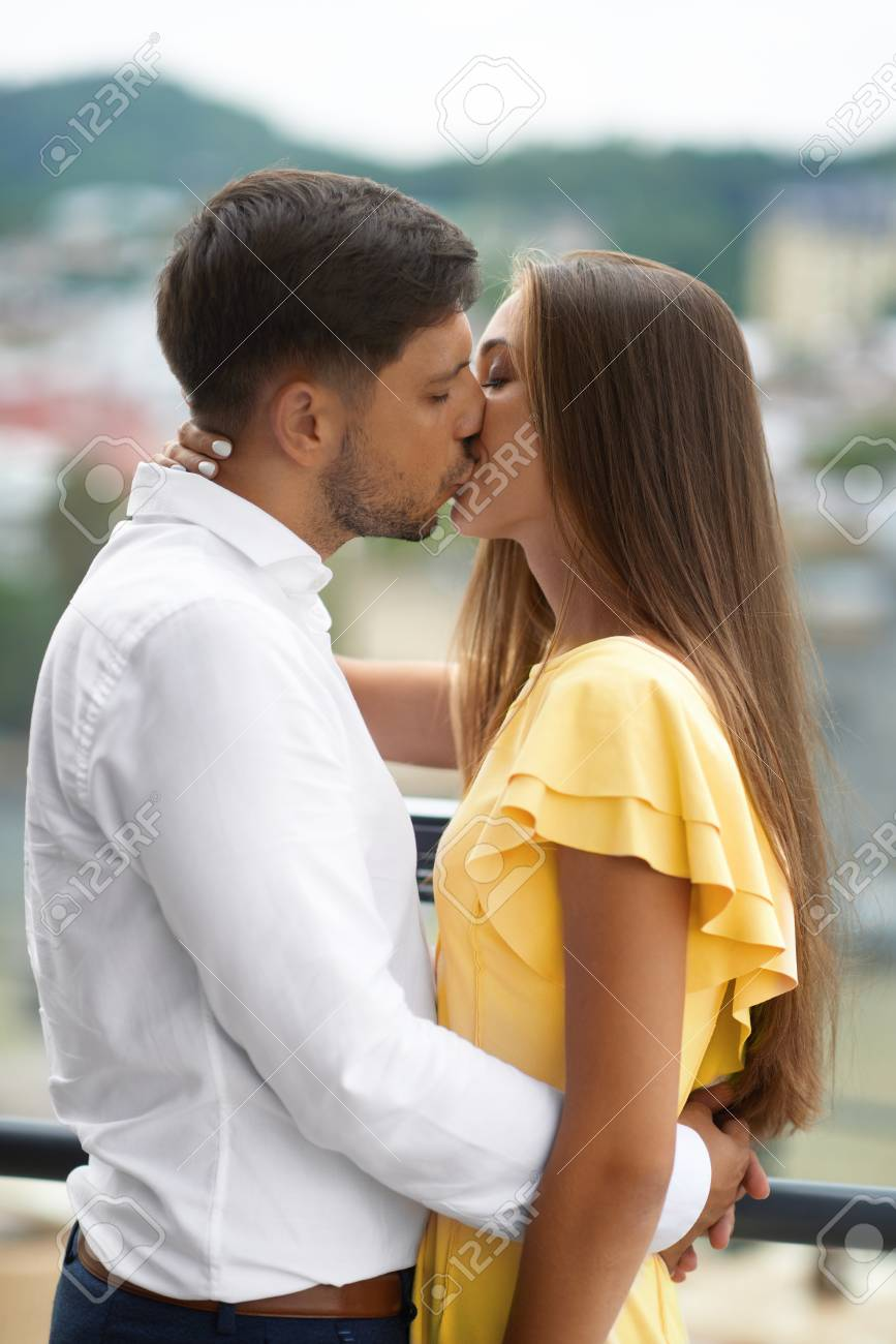 Romantic Couple In Love Kissing Portrait Of Beautiful Smiling Stock Photo Picture And Royalty Free Image Image 92440018