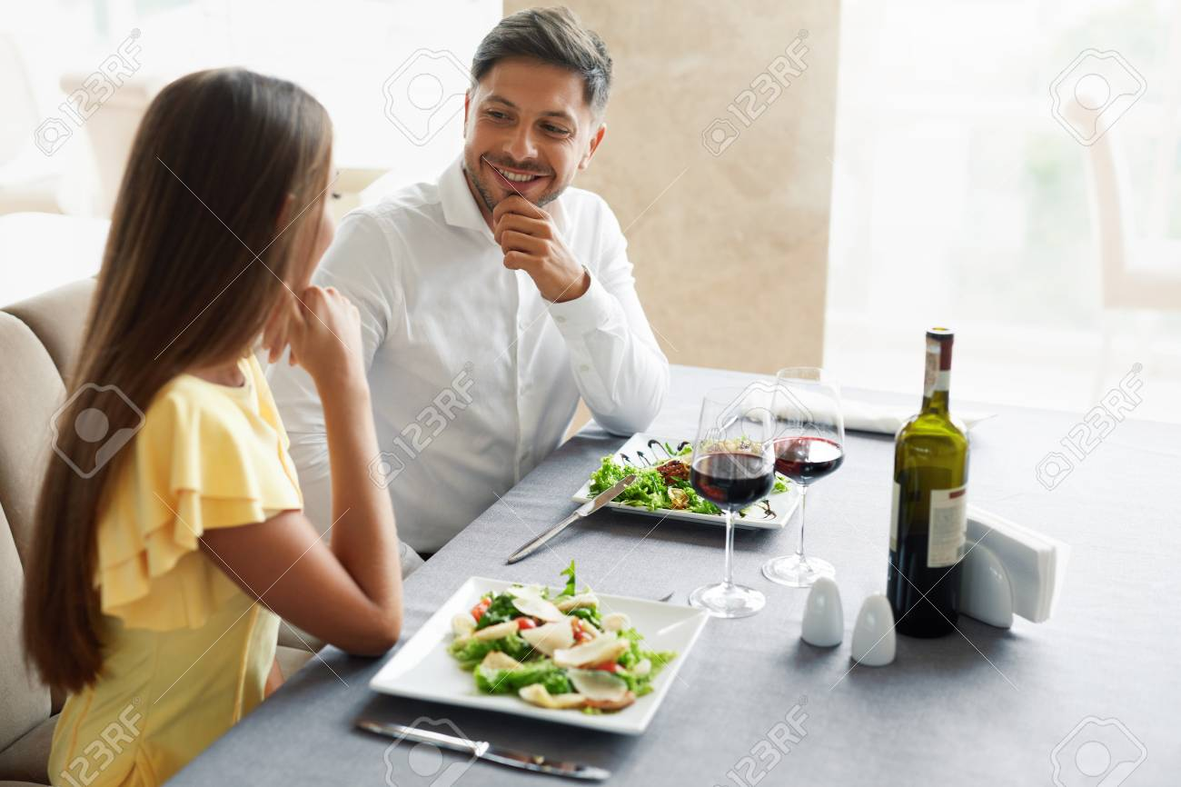 Romantic Couple Having Dinner For Two In Restaurant Beautiful Stock Photo Picture And Royalty Free Image Image 92440175