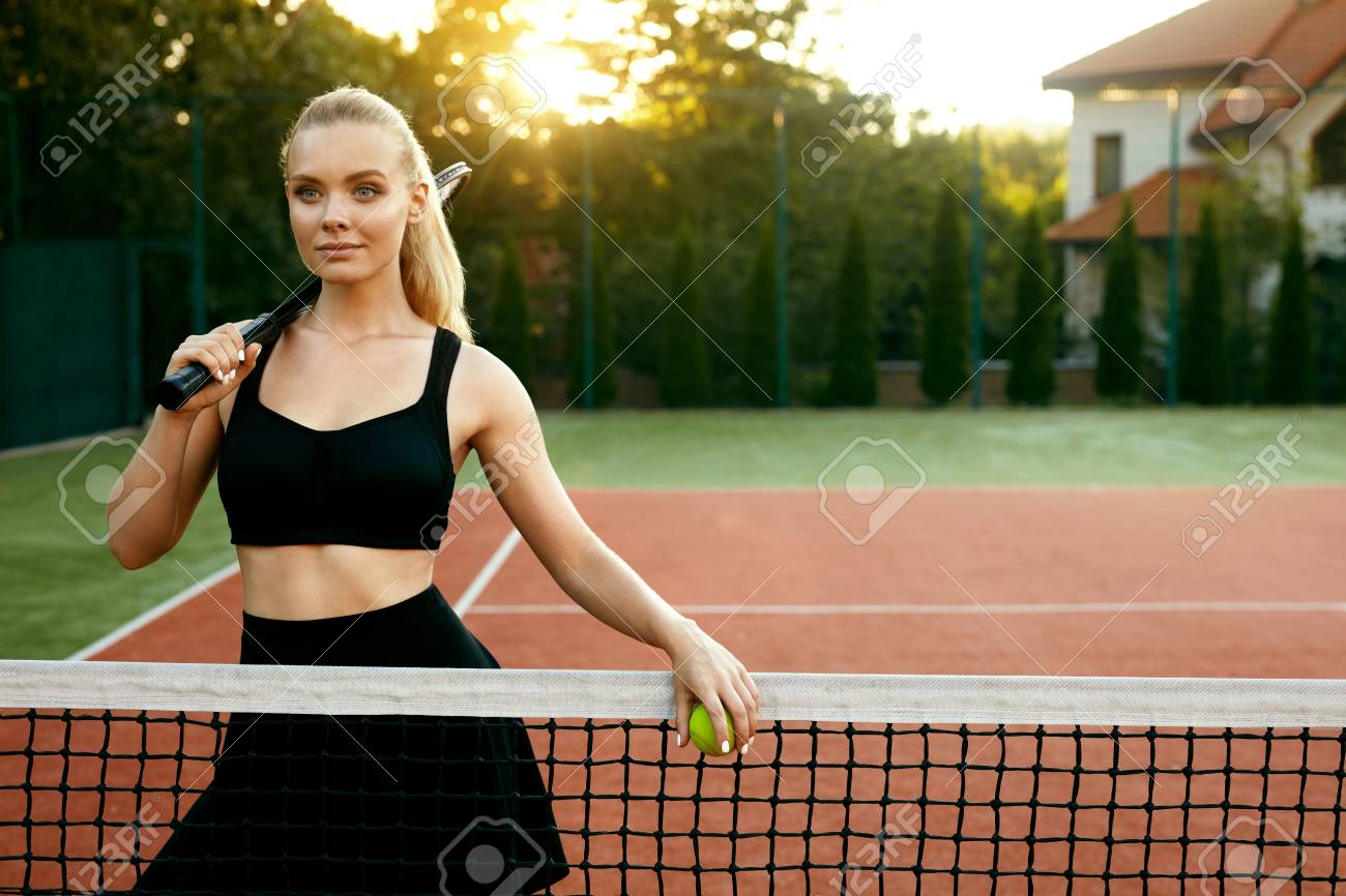 Sports Fashion Beautiful Woman On Tennis Court Portrait Of Stock