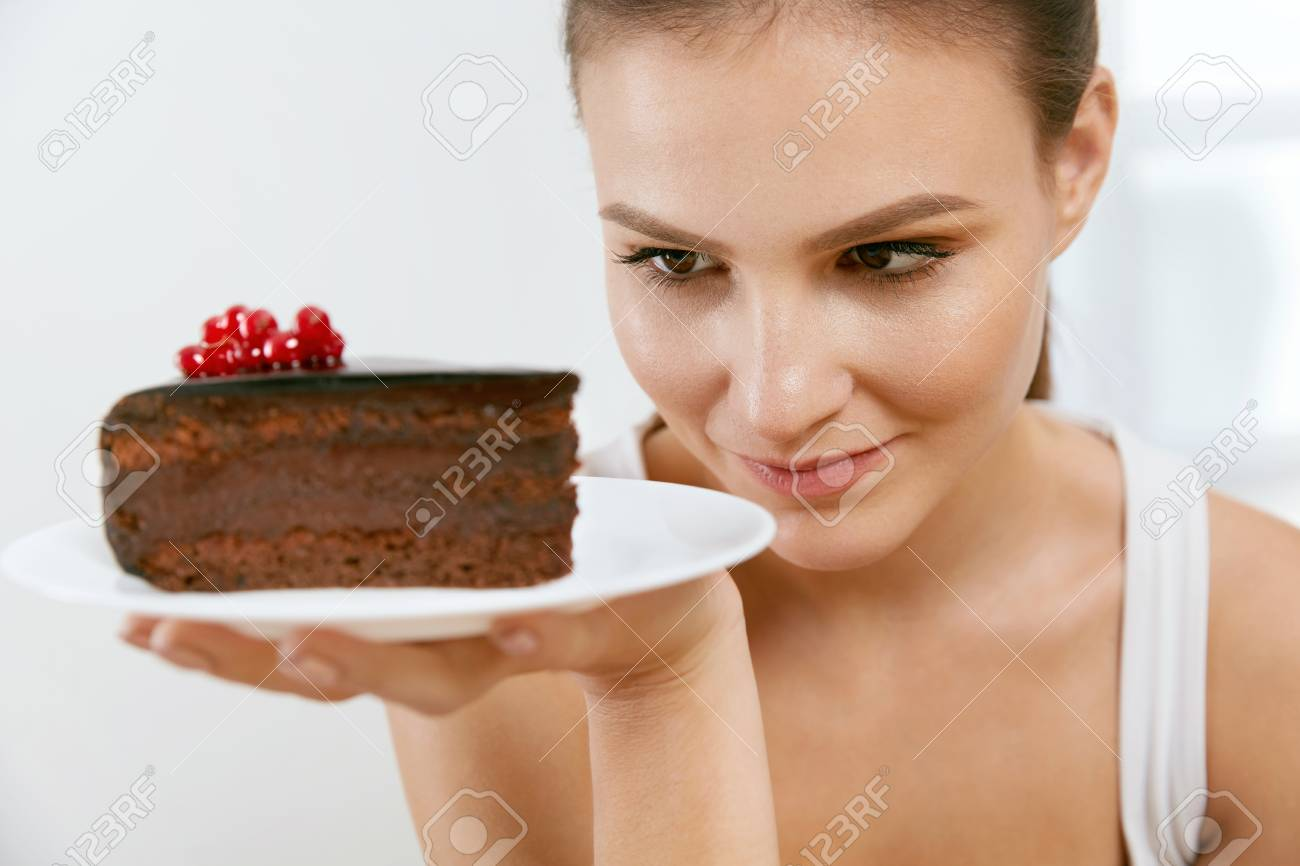 Dessert Woman Eating Chocolate Cake Portrait Of Beautiful Happy